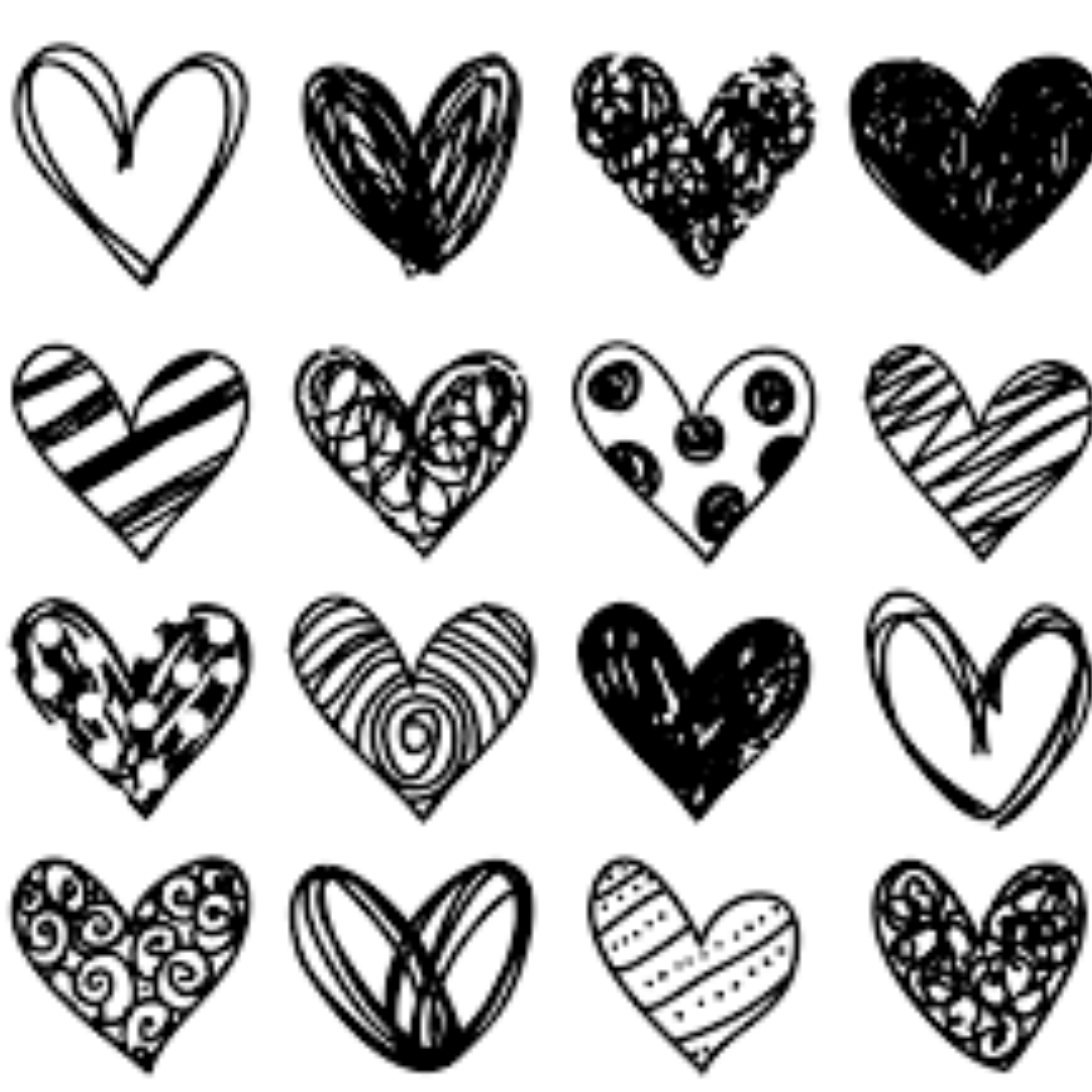 Pictures of hand drawn hearts